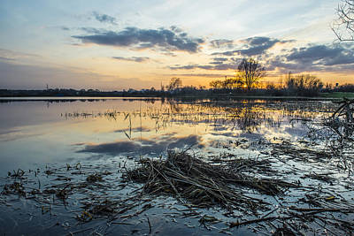 Spring Scenery Photograph - Beautiful Sunset Reflecting In A Lake by Jaroslaw Grudzinski