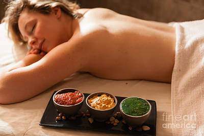 Photograph - Beautiful Woman In A Spa Relaxing On A Massage Table. by Don Landwehrle