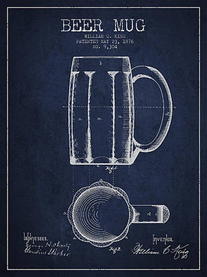 Glass Drawing - Beer Mug Patent From 1876 - Navy Blue by Aged Pixel