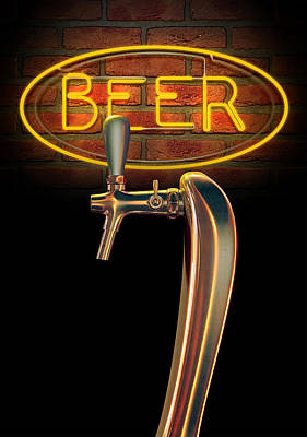Beer Royalty-Free and Rights-Managed Images - Beer Tap Single With Neon Sign by Allan Swart