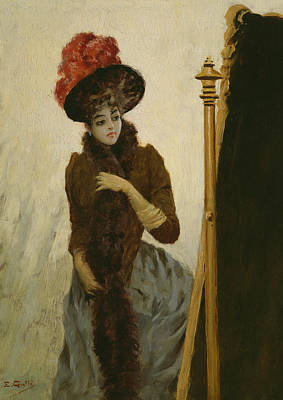 Vain Painting - Before The Swing Mirror by Emile Galle