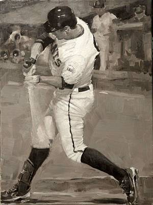 San Francisco Giants Painting - Belted Over First by Darren Kerr