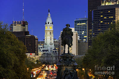 Ben Franklin Parkway And City Hall Art Print by John Greim