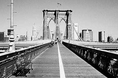 Photograph - Bench On A Bridge, Brooklyn Bridge by Panoramic Images