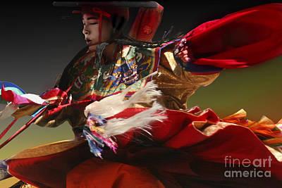Art Print featuring the digital art Bhutanese Festival by Angelika Drake