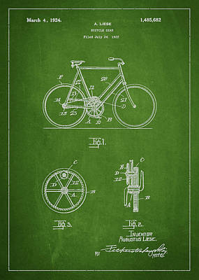 Transportation Digital Art - Bicycle Gear Patent Drawing from 1922 - Green by Aged Pixel