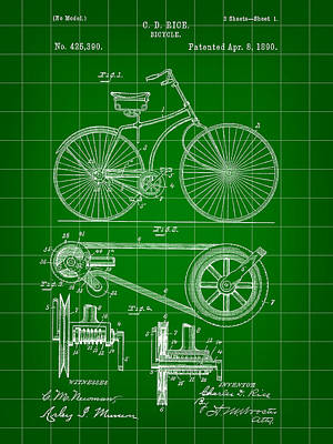 Bicycle Patent 1890 - Green Art Print by Stephen Younts