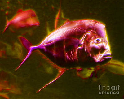 Trout Digital Art - Big Fish Small Fish - Electric by Wingsdomain Art and Photography