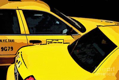 Digital Art - Big Yellow Taxis by Liz Leyden