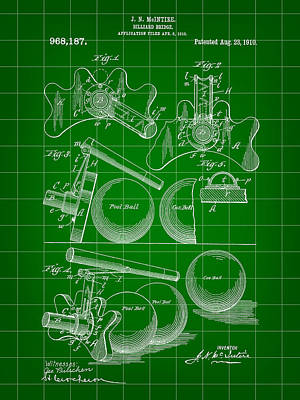 Pool Stick Digital Art - Billiard Bridge Patent 1910 - Green by Stephen Younts