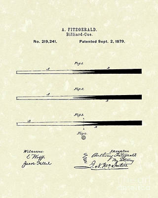 Parlor Drawing - Billiard Cue 1879 Patent Art by Prior Art Design