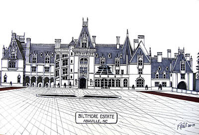 Pen And Ink Historic Buildings Drawings Drawing - Biltmore Estate by Frederic Kohli