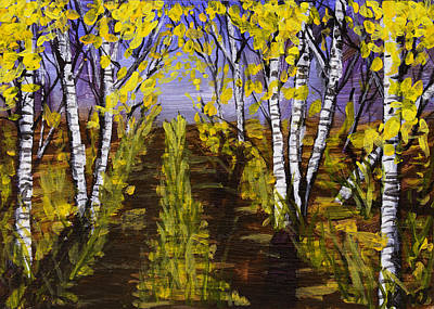 Painting - Birch Trees And Road In Fall Forest Painting by Keith Webber Jr