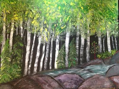 Art Print featuring the painting Birches By Falls by Paula Brown