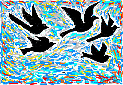 Life Study . Ganesha Digital Art - Birds In Flight by Anand Swaroop Manchiraju