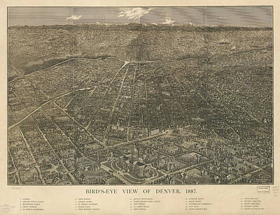 Mountain Drawings - Birdseye Map of Denver Colorado - 1887 by Eric Glaser