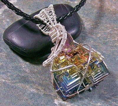 Heather Jordan Jewelry - Bismuth Crystal And Silver Wire-wrapped Pendant by Heather Jordan
