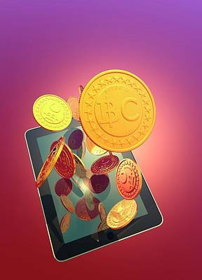 Bitcoins And Digital Tablet Print by Victor Habbick Visions