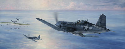 Military Aviation Art Painting - Black Sheep Patrol by Wade Meyers