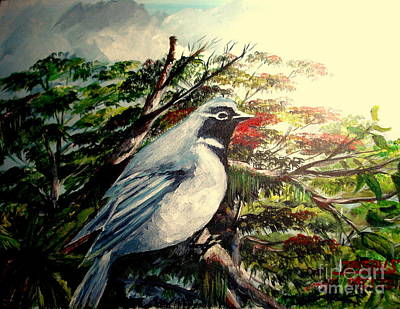 Mangrove Forest Painting - Black-throated Robin  by Jason Sentuf