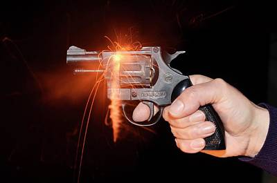 Blank-firing Revolver Art Print by Crown Copyright/health & Safety Laboratory Science Photo Library