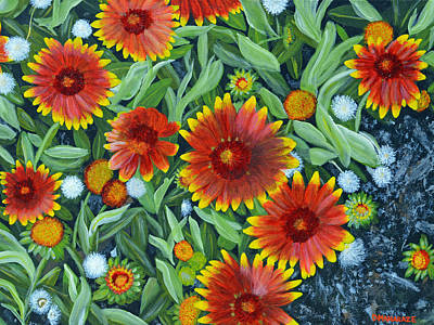 Painting - Blanket Flowers by Donna  Manaraze