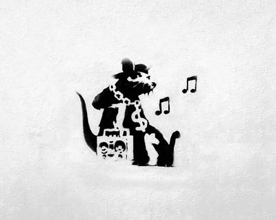 Famous Stencils Photograph - Bling Boombox Rat  by A Rey