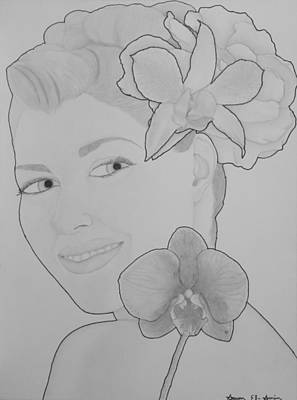Drawing - Blooming Girl Orchid And Gardenia  by Aaron El-Amin