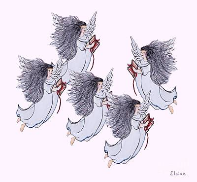 Angel Blues Drawing - Blue Angels by Eloise Schneider