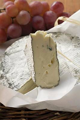 Blue Cheese (bresse Bleu, France) And Grapes Art Print