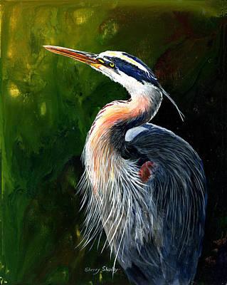 Blue Heron  Art Print by Sherry Shipley