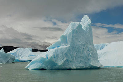 Bandera Photograph - Blue Icebergs Seen On Lago, Los by Howie Garber