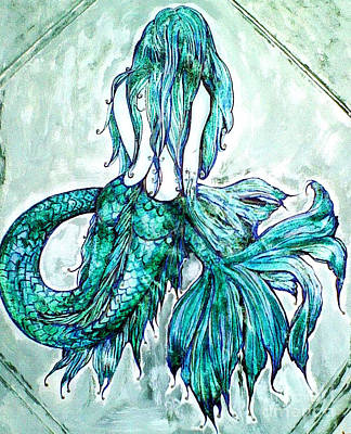 Drawing - Blue Mermaid by Valarie Pacheco