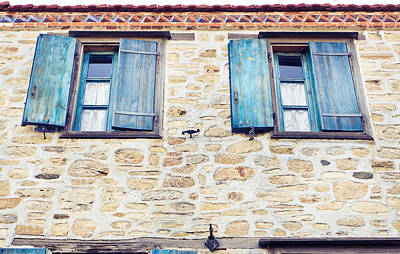 Window Wall Art - Photograph - Blue Shutters by Tom Gowanlock