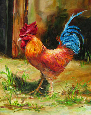 Painting - Blue-tailed Rooster by Diane Kraudelt