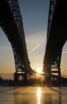 Michigan Port Huron Photograph - Blue Water Bridge by Jim West