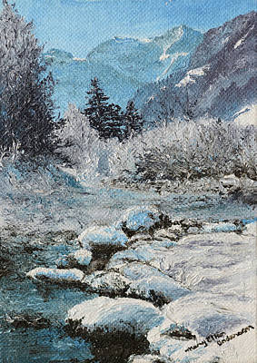 Rural Scenes Painting - Blue Winter by Mary Ellen Anderson