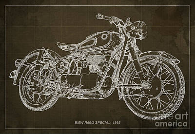 Motorcycle Drawing - Bmw R60 Special 1965 by Pablo Franchi