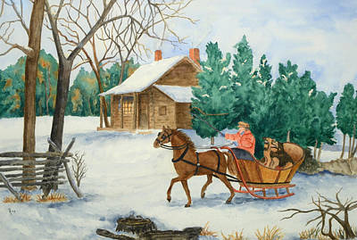 New England Snow Scene Painting - Bo And Ozark - Dashing The Fab Two by Rhonda Leonard