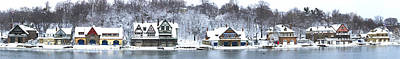 Boathouse Row At The Waterfront Art Print