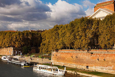 Boats At Quai De La Daurade, Toulouse Art Print by Panoramic Images