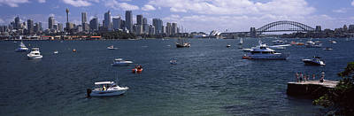 Sydney Vacation Photograph - Boats In The Sea With A Bridge by Panoramic Images