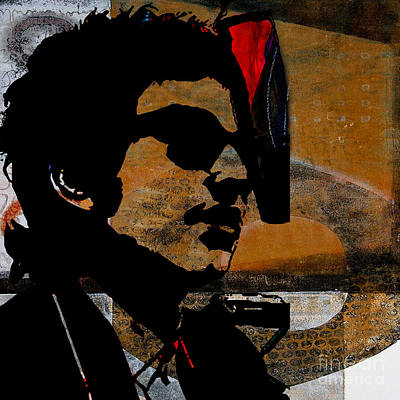Bob Dylan Recording Session Print by Marvin Blaine