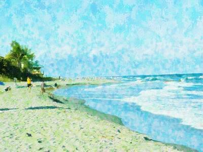 Boca Beach Play Art Print by Florene Welebny