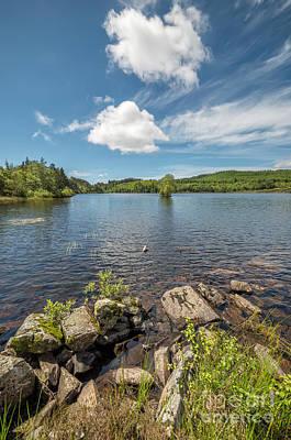 Llanrwst Digital Art - Bodgynydd Lake by Adrian Evans
