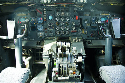 Cockpit Photograph - B727 Cockpit by Micah May