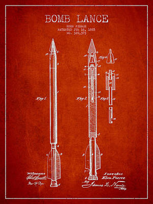Bomb Lance Patent Drawing From 1885 Art Print by Aged Pixel