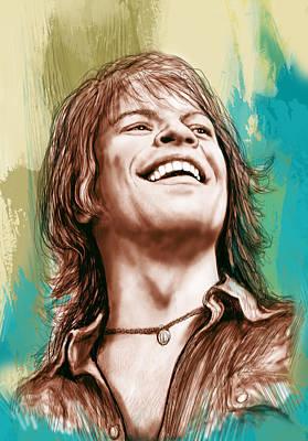 Drummer Drawing - Bon Jovi Long Stylised Drawing Art Poster by Kim Wang