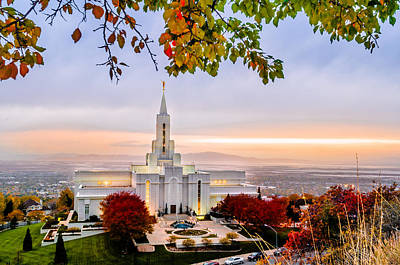 Utah Temple Photograph - Bountiful Temple Leaves by La Rae  Roberts