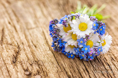 Bouquet With Daisies And Forget-me-not Art Print by Palatia Photo